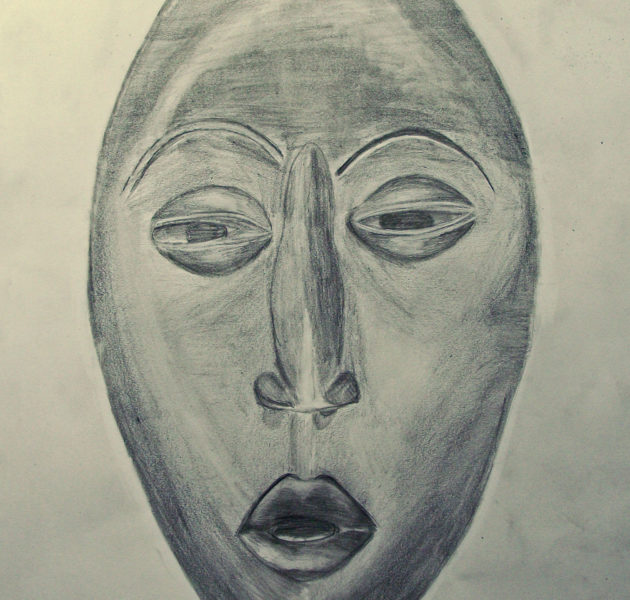 african-mask-pencil-on-paper-drawing-y-10-student