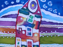 charlie-willis-yr-8painting-on-fabric-inspired-by-hundertwasser-theme-imagined-landscapes
